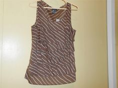 Ann Taylor Top NWTs Women's Sz 10 Brown and White Stripe Ruffles Zipper on Side #AnnTaylor #Blouse #Casual