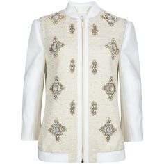 Ted Baker Banwell Embellished Bomber Jacket, Cream (3.165 NOK) ❤ liked on Polyvore featuring outerwear, jackets, white cotton jacket, blouson jacket, cotton jacket, collar jacket and cotton bomber jacket