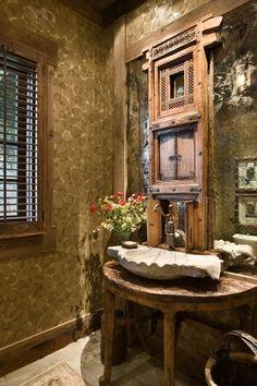 Incredibly unique half bath decor