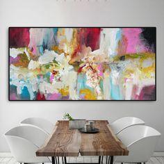 Rosa impresión de pintura abstracta azul rosado verde azul
