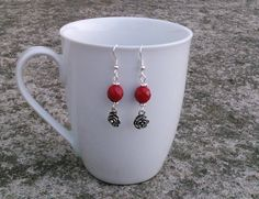 Toremore Crafts - oxblood facetted glass bead earrings with rose charm