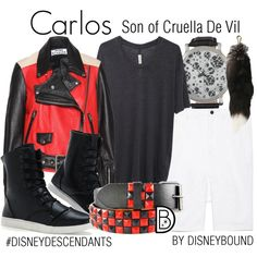 Carlos: Son of Cruella De Vil by leslieakay on Polyvore featuring moda, Raquel Allegra, H.I.P., Helmut Lang, disney, disneybound, disneycharacter and disneydescendants