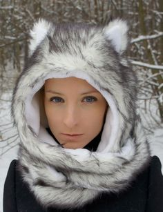Faux fur wolf hat / hood with ears animal spirit by WhiteWoof