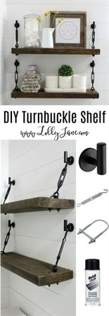 DIY Turnbuckle Shelf tutorial Learn how easy it is to make these bathroom turnbuckle shelves! These would be so cute in any room of the house, farmhouse chic shelves look great and are sturdy enough for all your home decor needs! Easy Home Decor, Cheap Home Decor, Cute Home Decor, Diy Etagere, Diy Home Decor For Apartments, Apartment Ideas, Apartment Kitchen, Cheap Apartment, Apartment Living