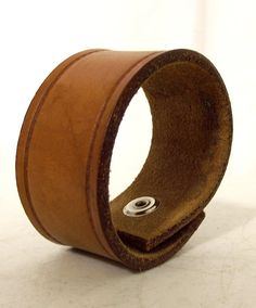 Tan Brown leather Cuff bracelet  upcycled by honeyblossomstudio