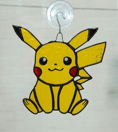 Pikachu Stained Glass Sun catcher Nerd by AwesomeSauceDesigns