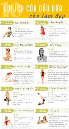 10 công dụng của dầu dừa cho việc làm đẹp: Tẩy trang, trị mụn, trị nám tàn nhang, làm trắng răng, giảm tóc chẻ ngọn....