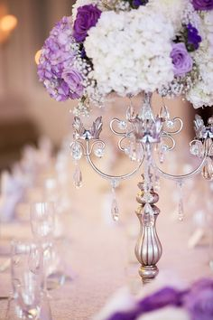 lavender and white wedding centerpiece  ~  we ❤ this! moncheribridals.com