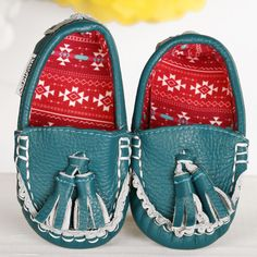 Tribal Teal ~ Genuine Leather & Fabric Little Monkey Moccasins