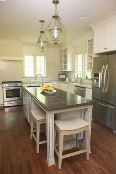 Decor happy client project kitchen before after jt - Narrow kitchen island with seating ...