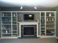 Image result for ikea hack wall of shelves for tv