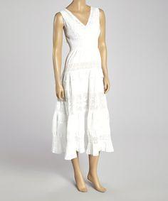 Loving this Magic White Crocheted Shirred Surplice Dress on #zulily! #zulilyfinds