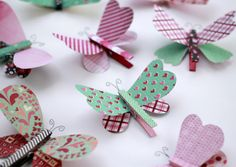 Cute Butterfly Pins. These are decorated for Valentines but you can use different papers w/o the hearts. So Springy, too! Crafty Sisters: Love Bugs