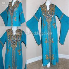 Wholesale New Arrival 2013 DUBAI ABAYA kAFTAN Light Sky Blue Free Size Beading Prom Dress Evening Dresses, Free shipping, $162.4-184.8/Piece   DHgate