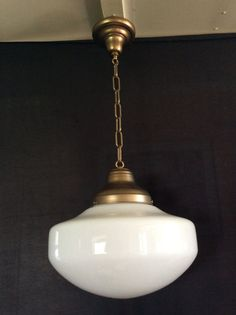 Antique Hanging Church Industrial Or School House Pendant Light Fixture  1920   1930s Milk Glass