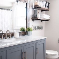 A farmhouse bathroom done right is equal parts airy, fresh, rustic, and modern. : @cherishbliss