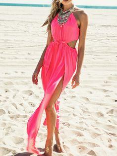 Hot Pink Halter Sheer Insert Cut Out Split Maxi Dress | Choies