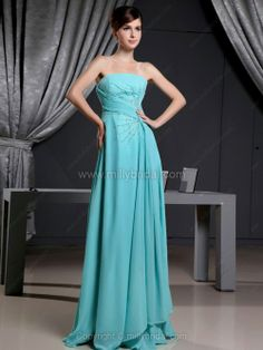 A-line Strapless Chiffon Floor-length Sequins Prom Dresses