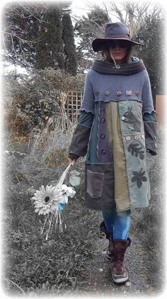 SCIURUS * Squirrel Elvish Leaf Folk Jumper Sweater Dress Snood Hood with Decorative Buttons ReCyCleD UpCyCleD Wearable Art Size:Small/Medium