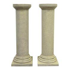 Pair of Faux Concrete Fiberglass Column Pedestals Sculpture Plant Stand Vintage Fiberglass Columns, Wooden Columns, Pillar Design, Interior Columns, Concrete Finishes, Porch Posts, Column Design, Backyard Bar, Arts And Crafts House