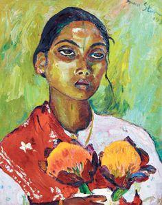Irma Stern Portrait of an Indian woman 1936 oil on canvas Harlem Renaissance, South African Artists, Art Deco, Post Impressionism, Wow Art, Art Database, Indian Art, Artist Art, Female Art