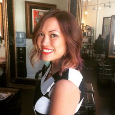 Another wavy, choppy bob with a hint of fun color!