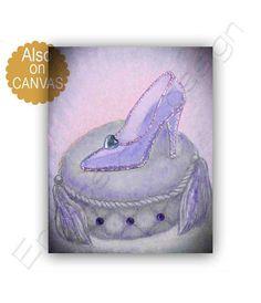 Cinderella Glass Slipper Princess Art Print Baby by handpainting Girls Princess Room, Princess Room Decor, Princess Wall Art, Princess Nursery, Baby Princess, Cinderella Nursery, Disney Themed Nursery, Cinderella Shoes, Nursery Prints