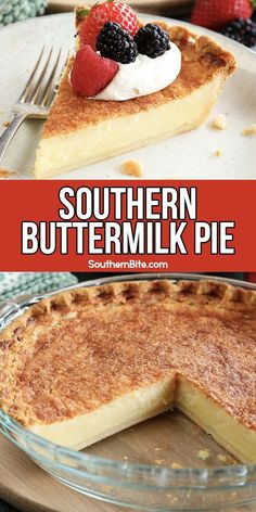 This Buttermilk Pie is an easy classic southern custard pie recipe that makes a perfect dessert! Southern Desserts, Southern Cooking Recipes, Easy Desserts, Delicious Desserts, Dessert Recipes, Yummy Food, Southern Buttermilk Pie, Buttermilk Recipes, Easy Pie Recipes