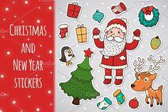Christmas and New year stickers by nenochka on @creativemarket