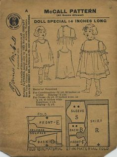 "Vintage / Antique Doll Clothes Sewing Pattern | McCall Pattern | Year ? (states ""Patented April 21, 1908"" on back) 