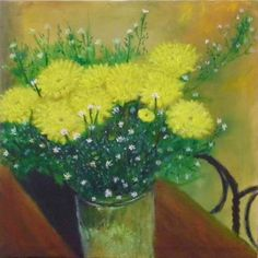 Mug of Mums (December 2014), oil on canvas, 14 x 14.