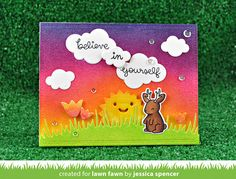 Lawn Fawn - Believe in Yourself, Simple Puffy Clouds, Sun and Moon, Make Me Smile, Meadow Borders, Stitched Rectangle Stackables _  card by Jessica for Lawn Fawn blog
