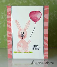 Balloon bunny birthday card by Darlene using Stampin Up Balloon Builders stamp set 2016 Occasions Catalogue Celebration Balloons, Birthday Celebration, Stampin Up Karten, Stampin Up Cards, Set 2016, Homemade Birthday Cards, Bunny Birthday, Up Balloons, Worthing