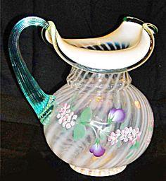 Fenton Glass Spiral French Opal Pitcher