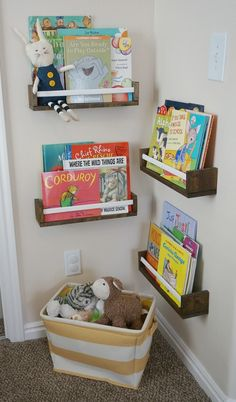Use spice racks as shelves in small corners. Hallway.    These bookshelves are @IKEAusa spice racks.