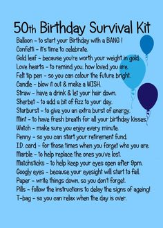 50TH BIRTHDAY SURVIVAL KIT BLUE: Amazon.co.uk: Kitchen & Home