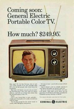 GE Portable Color TV w/Andy Griffith Vintage Ad.