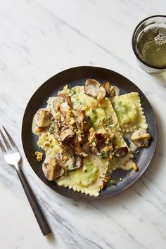Lemon-Ricotta Ravioli with Creamy Herbed Mushroomsgoodhousemag