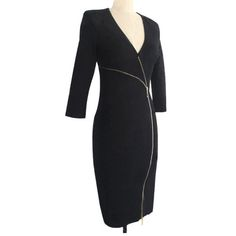 Sexy Deep V-neck Long Sleeve Slim Fit Pencil Dress