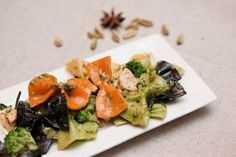 Colored Farfalle with smoked salmon