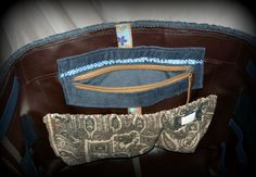 Handmade by Judy Majoros -Blue-brown velvet striped chrochet scrapbooking tote-bag. Recycled bag. Materials:chrochet-leatherette-rubber strap-velcro-canvas...
