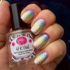 "Rainbow gradient with Uber Chic 2-02 stamped with essie ""no place like chrome"" Nancy Sartori"