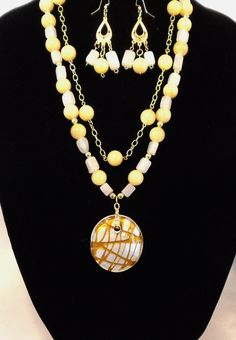 """Sweet Spring Time!,25""""Statement Necklace,Soft Yellow Calcite Beads,Gold Chain, Matching Earrings and Angel Dangle,FREE SHIPPING !!! by CKDesignsForYou on Etsy"""