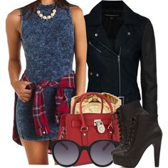 A fashion look from September 2014 featuring Charlotte Russe dresses, French Connection jackets and MICHAEL Michael Kors handbags. Browse and shop related looks.