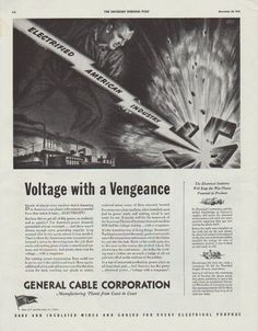"Description: 1942 GENERAL CABLE CORPORATION vintage print advertisement ""Voltage with a Vengeance""""In a war of armament production, power plays an all-important part ... And America has the power ... electrical power ... ""voltage with a vengeance""."" Size: The dimensions of the full-page advertisement are approximately 11 inches x 14 inches (28cm x 36cm). Condition: This original vintage advertisement is in Very Good Condition unless otherwise noted ()."