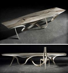 'Formed' Wood Furniture: Dining Table & Curved-Chair Set by Joseph Walsh.