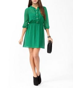 Ruffled Buttoned Shirtdress | FOREVER 21 - 2021840928