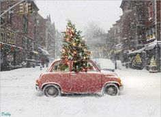 Car with christmas tree in the snowy city. I added some snow to it. DF