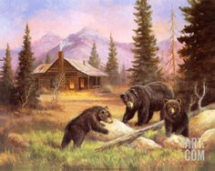 Bears on Log Print by M. Caroselli at Art.com