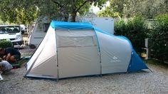 La nostra tenda familiare Arpenaz 4-1 di Decathlon al campeggio Maroadi sul Lago di Garda - Torbole